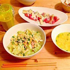 和風トマトのカプレーゼ と昨日の残りものたち(°_°) - 11件のもぐもぐ - サラダうどん by sara1107