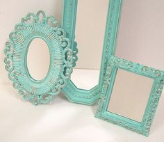 Love this. Shabby Chic Wall Mirrors. Need these for my brown and teal room :)