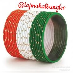 Now buy n explore an exclusive collection of Tiranga Bangles from Tajmahal Bangles in retail as well as wholesale.. #tricolor #tiranga #peace #saffron #saffron #white #green #bangleslove #trendybangles #metalbangles #tricolorbangles #bulkorderaccepted #girlishbangles #wholesalemarket #sadarbazar #occasionalbangles Independence Day Special, Exclusive Collection, Bangles, Retail, Peace, Explore, Green, Bracelets, Bracelet