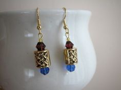 Antique Gold Weave Bead Faceted Glass Bead Dangle Earrings 1 Inch | norycloset - Jewelry on ArtFire