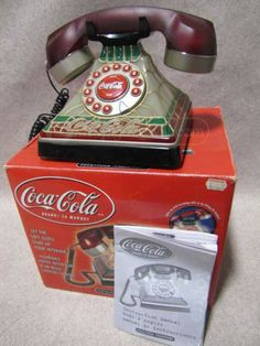 """Coca-Cola """"Stained Glass"""" Light Up Telephone"""