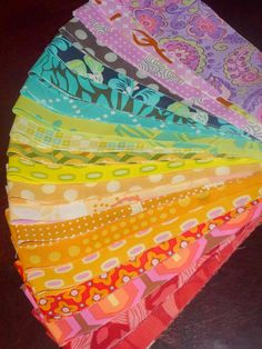 "cut into jellyrolls and other precuts - Rainbow Design Jelly Roll 40 2.5"" Quilt Fabric Strips Amy Butler em15, em16, em17, lime, lotus, flower shower, gold, modern vine, em09"