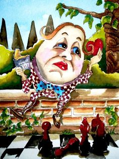 ACEO Print Watercolor Lucia Stewart folk art Alice Wonderland humpty dumpty #IllustrationArt
