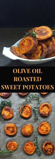 Thick slices of oven roasted sweet potatoes with olive oil, salt and rosemary. An unfried sweet potato fry!