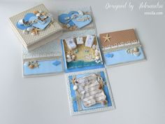 Inside of the exploding box with a miniature for a beach wedding
