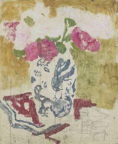 George Hendrik Breitner, 1857-1923. Vaas met rose bloemen, ca.1880 - ca.1923, olieverf op paneel, 46 × 38CM.