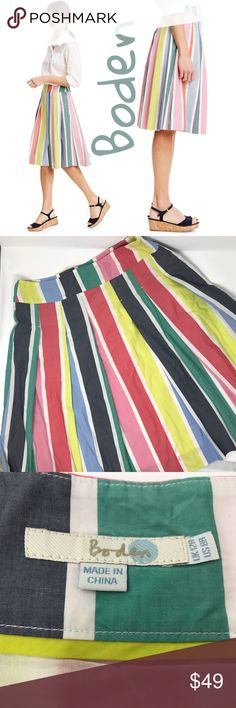 Boden multi color A-line skirt In excellent condition, beautiful multi color a line skirt, knee length, regular size 8, Boden Skirts A-Line or Full