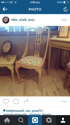 Bedroom chair painted in Everlong Irish Cream. By Little Chalk Lane