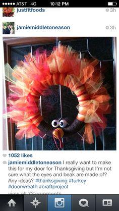 Um, coolest turkey wreath ever.