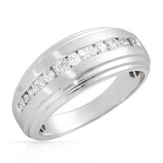 Stunning Brand New Gentlemens Band Ring With 1.00ctw Genuine Clean Diamonds Well Made in 14K White Gold. Total item weight 8.1g - Size 10.25 We Can Resize from white gold rings