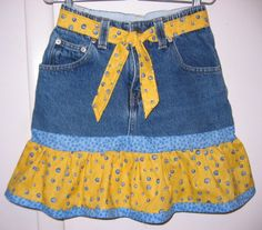 Recycled Jeans Denim Ruffled Girls Skirt Size 7 by on Sewing Clothes, Crochet Clothes, Diy Clothes, Sewing Jeans, Old Jeans, Jeans Fit, Denim Jeans, Stitching Dresses, Skirt Patterns Sewing