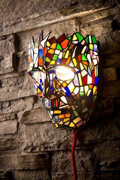 Lantern Mask. Inspired by Venetian native mask. LED lantern, face size, Tiffany technique.