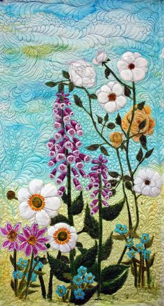 Quilts art quilt silk painted original flower garden - $295.00