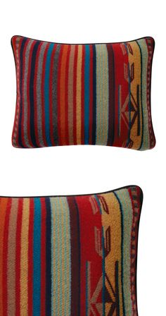 Rest easy with the help of this charming Southwestern-themed throw pillow. Woven entirely with pure virgin wool, this Marfa Throw Pillow features multi-colored striped patterning and a feather insert. ...  Find the Marfa Throw Pillow by Pendleton, as seen in the Glamping in the Lone Star State Collection at http://dotandbo.com/collections/glamping-in-the-lone-star-state?utm_source=pinterest&utm_medium=organic&db_sku=114193