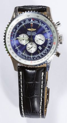 Lot 530: REPLICA Breitling Chronometre Navitimer Men's Wrist Watch; Having a blue face; ** This is a REPLICA watch **