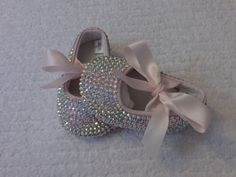 ANY COLOR Authentic Crystal Rhinestone Bling Ballerina Baby Shoes Great for Weddings, Baptism, or Christening on Etsy, $74.99