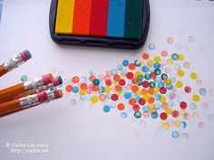Confetti!!! Eraser turned rubber stamp. Perfect for wrapping paper, card making...the sky's the limit.