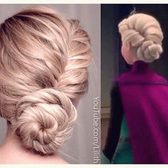 Queen Elsa's hair is simple u just do a side french braid twist it in2 a bun at the bottom and then add some hair pins (as many as u like) 2 keep it secure.