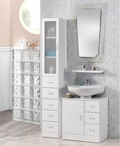 Best Small Bathroom Vanity Ideas for Tiny Space / Wohnkultur, Interior Design, Badezimmer & Küche Ideen New Bathroom Ideas, Small Bathroom Vanities, Small Bathroom Storage, Bathtub Ideas, Vanity Bathroom, Bathroom Cabinets, Pedastal Sink Storage, Vanity For Small Bathroom, Master Bathroom