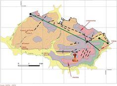 Diques de diabásio (linha verde). Parque Estadual Vila Velha. Ocorrem dois diques de diabásio de direção noroeste - sudeste na área do Parque Estadual de Vila Velha. Serviço Geológico do Paraná - Mineropar