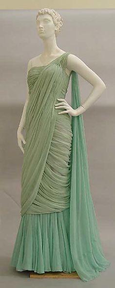"""Evening Dress, Jean Dessès (French, born Egypt, 1904–1970): 1950-1959, French, silk.    Marking: [label] """"JEAN DESSÈS, Champs Elysées, Paris"""""""