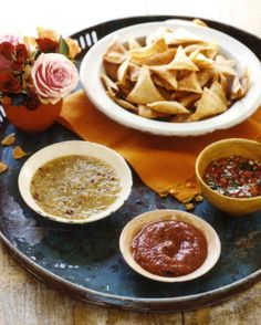 Salsa Trio and Homemade Tortilla Chips Recipe | Martha Stewart Living — Homemade chips and salsa offer more flavor than store-bought versions.