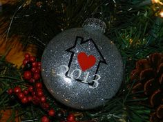 Custom Our First Home Christmas Glitter Ornament // Glass or Acrylic