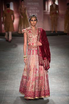 Anju Modi at India Couture Week 2014 - intricate red lehenga