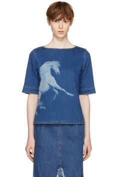 Stella McCartney - Blue Denim Pegasus T-Shirt