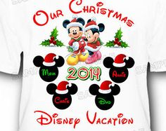 4 Pack Christmas Family Disney Vacation T-Shirts Mickey and Minnie Mouse