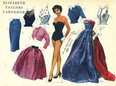 Elizabeth Taylor Paper Doll from Swedish magazine Aret Runt, 1952