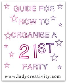 ★FREE DOWNLOAD★ 8 week countdown checklists http://www.ladycreativity.com/2014/11/how-to-organise-21st-party.html