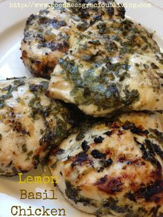 Lemon Basil Chicken recipe - so good! use c lemon juice, c dried basil leaves, 1 tsp oregano, pink of salt and pepper. cook stovetop with pam, 4 minutes each side. New Recipes, Dinner Recipes, Favorite Recipes, Healthy Recipes, Dinner Ideas, Supper Ideas, Quick Recipes, Meal Ideas, Recipes