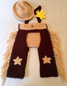 Crochet Baby Boy Cowboy Set with Cowboy Hat, Chaps, and Diaper Cover with Suspenders. $44.99, via Etsy.