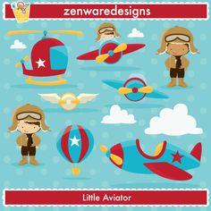 Little Aviator - Little Aviator - Cliparts - MYGRAFICO DIGITALS: Clipart, Digital Paper, Digital Stamp, Party Printables