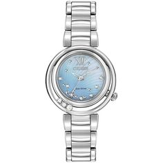 Citizen EM0320-59D Women's Sunrise Diamond and Mother of Pearl... (55.730 RUB) ❤ liked on Polyvore featuring jewelry, watches, urban watches, blue jewelry, blue watches, citizen watches and diamond dial watches