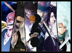 Renji Abarai,Byakuya Kuchiki,Toshiro Hitsugaya,Kenpachi Zaraki,Ikkaku Madarame,Ichigo Kurosaki, Rukia Kuchiki - Bleach