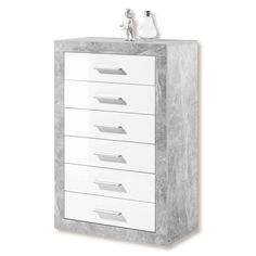 White gloss and stone grey tall chest of drawers.