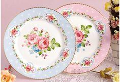 A la venta plato redondo fina placa de cerámica de 8 pulgadas envío gratis azul y rosa(China (Mainland))