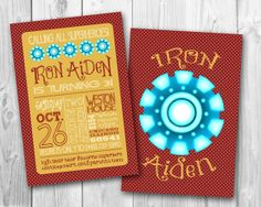 Ironman Theme Birthday Party Invitation- by Oh, Happiness! Second Birthday Ideas, 5th Birthday Party Ideas, 20th Birthday, Birthday Party Invitations, Boy Birthday, Iron Man Party, Iron Man Birthday, Transformer Birthday, Avengers Birthday
