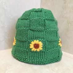 92cdd42f6df Child s Knit Basketweave Hat With Embroidered Sunflower for ages 3-10 yrs.  Etsy