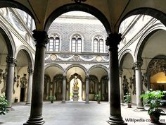 Palazzo Medici Riccardi, Florence, Italy - The palace was designed by Michelozzo di Bartolomeo for Cosimo de' Medici, head of the Medici banking family, and was built between 1444 and 1484.The courtyard has remained intact from the 1400's. This area, with its Corinthian columns and vaulted ceilings, was the fulcrum of the building around which all other activity was organized during Medici times.