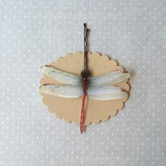 Dragonfly - Handmade Cotton and Silk Organza Red Dragonflies Hair Bobby Pin - 1 piece by TheButterfliesShop on Etsy