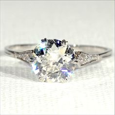 Antique Edwardian 1.4ct Diamond Solitaire Ring in Platinum, European from vsterling on Ruby Lane