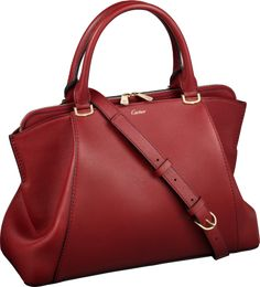 C de Cartier bag, small model Red spinel-colored taurillon leather, gold finish