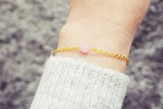 Gold Chain Bracelet | Pink Jade Gemstone Bracelet | Single Bead Bracelet | Healing Crystal Bracelet Jade Bracelet, Gemstone Bracelets, Handmade Bracelets, Crystal Healing, Gold Chains, Gemstones, Gift Ideas, Jewellery, Crystals