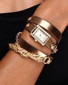 Love this Double Strap Chain Trim Band Watch on DrJays and only for $20. Take a look and get 20% off your next order! Exclusions apply.