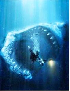 Photoshopped picture of what a megalodon shark would be like compared to a human. Scary.
