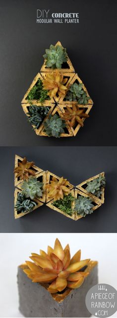 Easy to make DIY concrete geometric planters!  You can make stackable gardens or even living walls with them!   A Piece of Rainbow