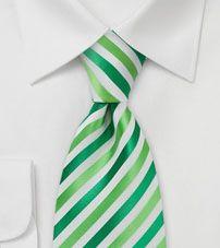 Bright Green and White Striped Tie